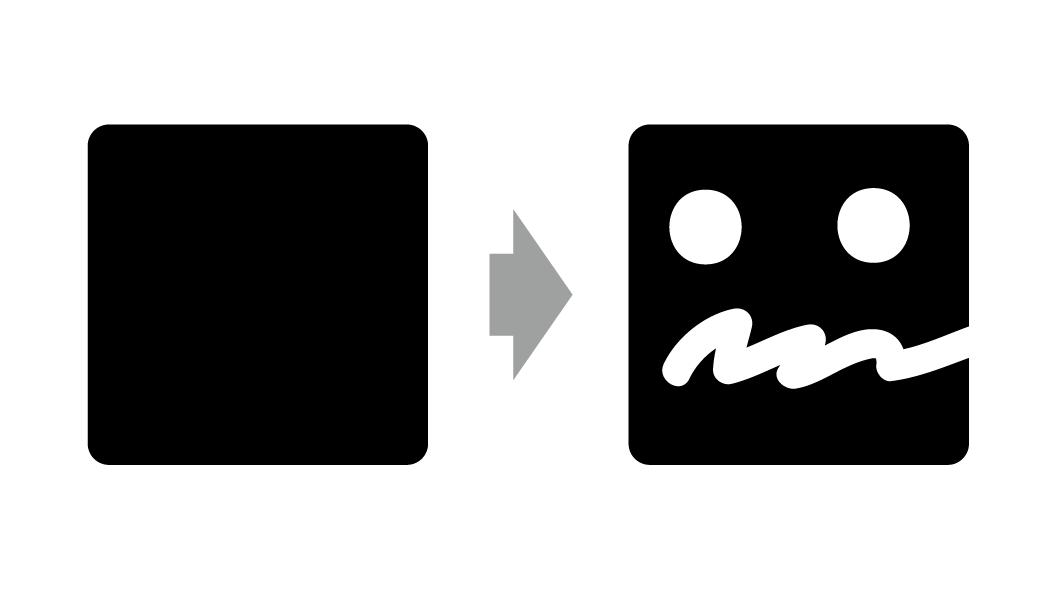 イラストレータを使いオブジェクトを用意して消しゴムツールで消した画像