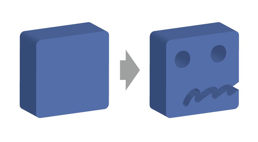 イラストレータで「効果」の「3D」、「押し出し・ベベル」で立体的なオブジェクトを用意し、消した画像