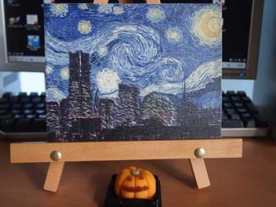 みなとみらいをゴッホ風のタッチで描いたキャンバスプリントのサンプル写真